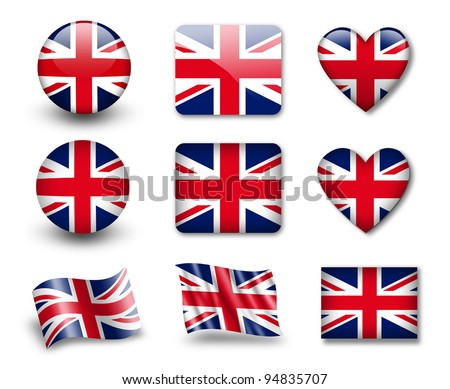 The British flag - set of icons and flags. glossy and matte on a white background.