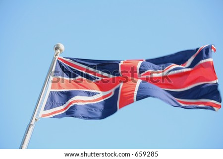 The British Union Flag flapping in the breeze (some parts are sharp, some have motion blur)