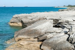 The broken eroded landscape on a shore of Grand Bahama island.