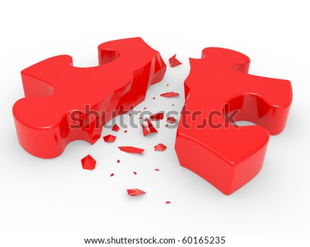 The broken puzzle on a white background