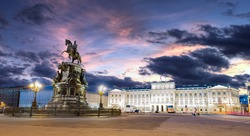 The Bronze Horseman (copper horseman) an statue of Peter the Great in Saint Petersburg during the White Nights, Russia
