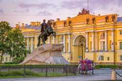 The Bronze Horseman - statue of Peter the Great in Saint Petersburg, Russia. Text on the stone: