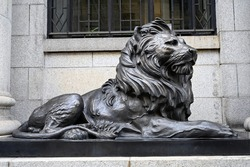 The bronze lion sculpture in front of the bank