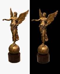 The bronze sculpture of godness Nika. Symbol of Victory.