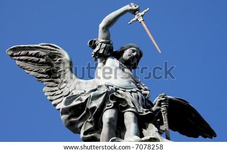 The bronze statue of archangel Michael by von Verschaffelt, 1753, Castel Sant'Angelo, Rome