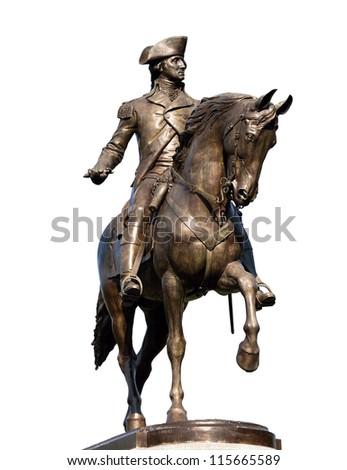 The bronze statue of George Washington in Boston Public Garden isolated on white