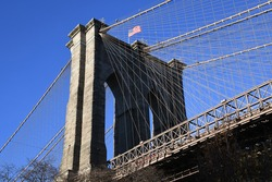 The Brooklyn Bridge in New York opened in 1883. It connects Lower Manhattan with Brooklyn and spans the East River.
