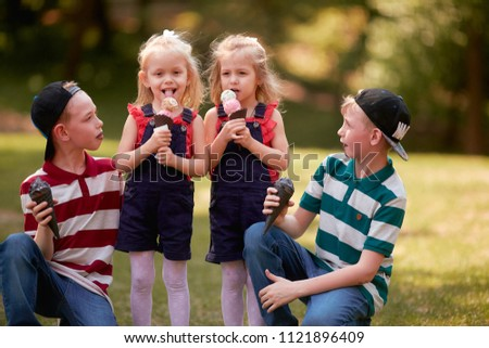 The brothers and sisters eating ice creams #1121896409