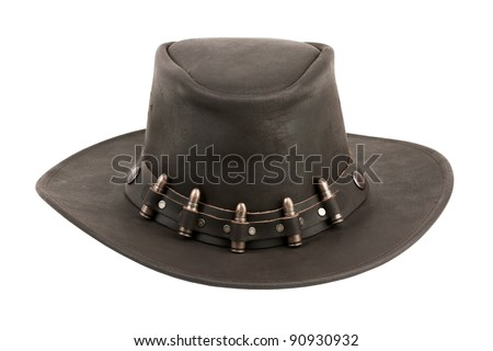 The brown leather cowboy hat with bullets on a white background