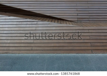 The brown old wooden panel set as the retro exterior decoration. Wallpaper image. Background image. Abstract image. #1385761868