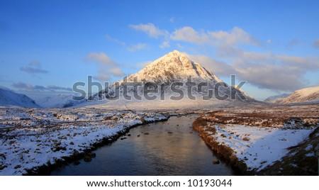 The Buachoille Etive mountain high up in Glencoe Scotland