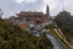 The Buddhism Temple of the Fansipan Mountain at Sa Pa in Vietnam