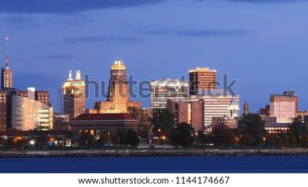The Buffalo, New York city center at dusk