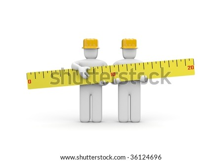 The builders team holds a ruler