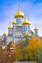 The building of the Orthodox Church with golden domes in Kiev, Ukraine.