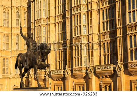 The buildings of the House of Parliament with a statue of Richard on his horse