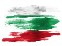 The Bulgarian flag painted on white paper with watercolor