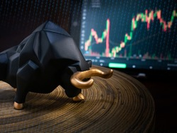 The bull and chart for business or bull market trader concept