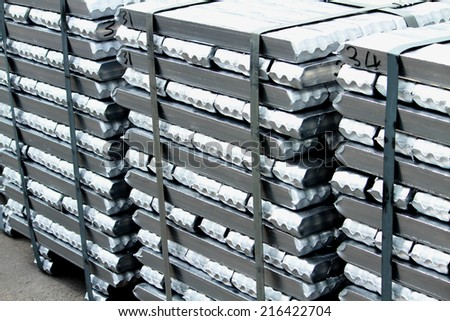 The bundle of aluminum ingot in warehouse