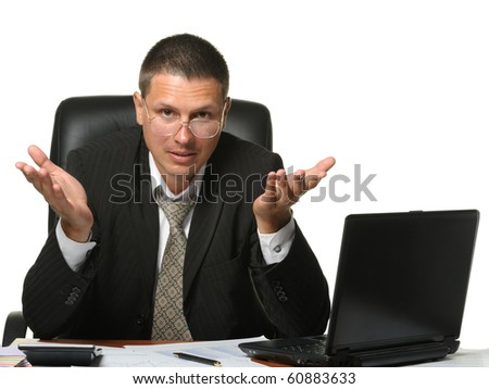 The bureaucrat emotionally shows the discontent. It is isolated on a white background - stock photo