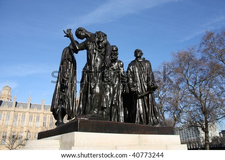 The Burghers of Calais (Les Bourgeois de Calais), one of the most famous sculptures by Auguste Rodin. Victoria Tower Gardens.