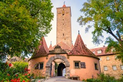 The Burgtor castle gate in Rothenburg ob der Tauber. Germany