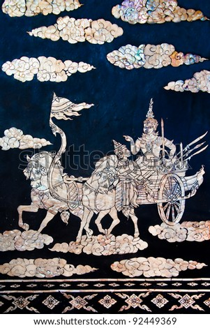 The Buried pearl of thai art on wood. This is traditional and generic style in Thailand. No any trademark or restrict matter in this photo.