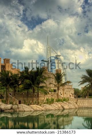 The Burj Al Arab Hotel in Dubai, UAE, taken from Madinat Jumeirah HDR