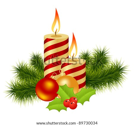 The burning candles, balls and red ribbons it are Christmas.