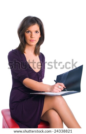 The business girl with a folder for records on a white background