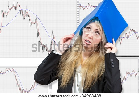 The business woman, financial analyst, thinks of a difficult situation in the market