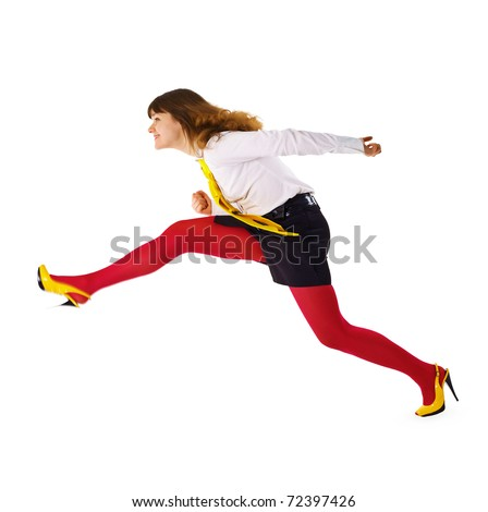 The business woman speeds up somewhere hurrying up isolated on white background
