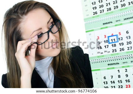 The business woman with a calendar isolated - stock photo