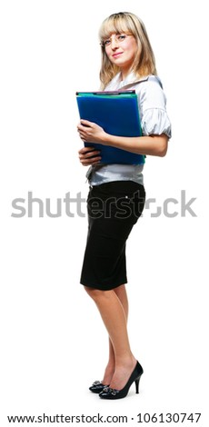 The business woman with folders for official papers. It is isolated on a white background