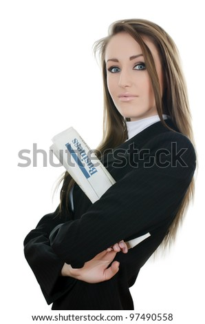 The business woman with the newspaper isolated