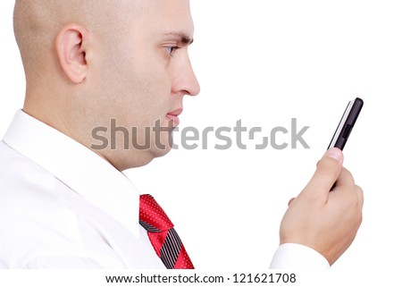 the business young man holds phone on a white background
