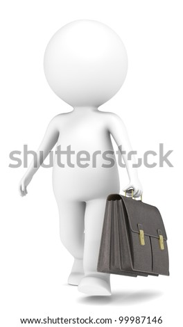 The Businessman. 3D little human character The Businessman with a Briefcase. Business People series.