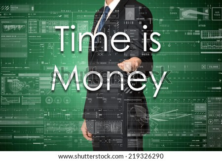 the businessman is presenting the business text with the hand: Time is Money