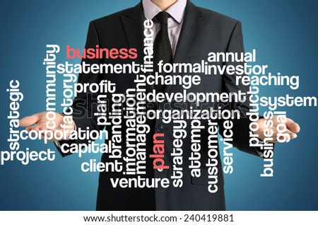 the businessman is presenting the cloud of connected words with: business plan