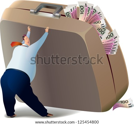 The businessman is trying to lift the suitcase, which is full of money. Raster image. Find a vector version in my portfolio.