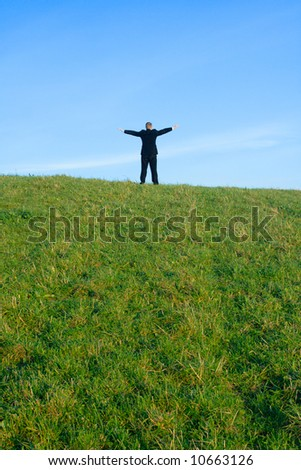 The businessman on a hill extended upwards hands