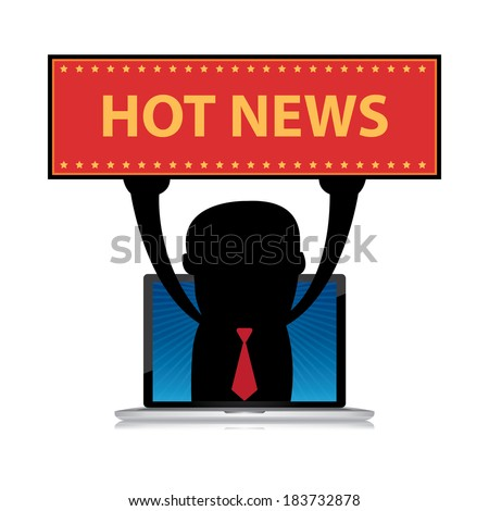 The Businessman Raise Hot News Banner Through Computer Laptop Screen Isolated on White Background