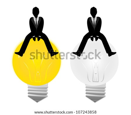 The Businessman Sitting on The On and Off Light Bulb Isolated on White Background - stock photo