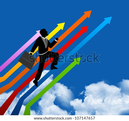 The Businessman Stepping Up a Colorful Arrow to The Top for Success With Blue Sky Background - stock photo