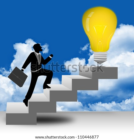 The Businessman Stepping Up a Stairway to The Light Bulb With Blue Sky Background for Business Idea Concept