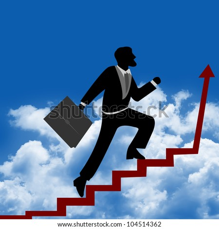 The Businessman Stepping Up a Stairway to The Top of The Arrow for Success With Blue Sky Background