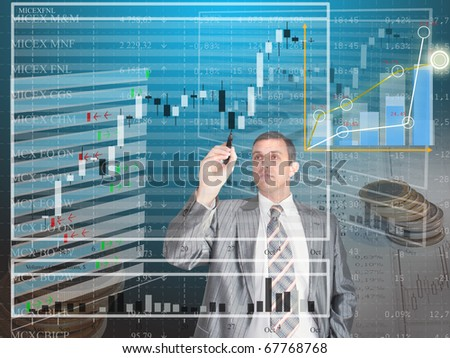 The businessman studies a structure of the diagramme of capital investments in financial business