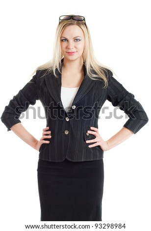 The businesswoman costs on a white background