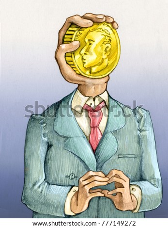 the bust of a man instead of the face a hand holding a golden coin