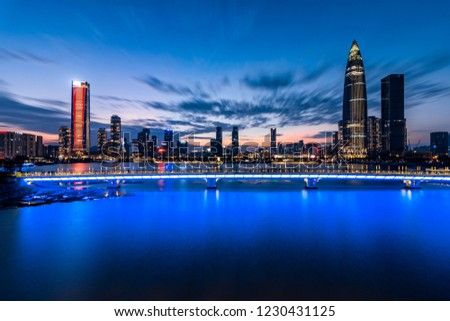 The bustling night view of Shenzhen Houhai Financial District #1230431125
